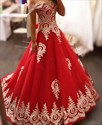 Red Off The Shoulder A-Line Lace Applique Tulle Ball Gown Prom Dress
