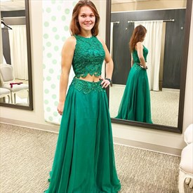 Emerald Green Two Piece Sleeveless Lace Bodice A-Line Long Prom Dress
