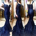 Navy Blue Elegant Sequin Cap Sleeve Floor Length Mermaid Prom Dress