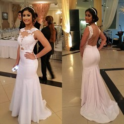 Illusion Lace Bodice White Sleeveless Floor-Length Mermaid Prom Dress