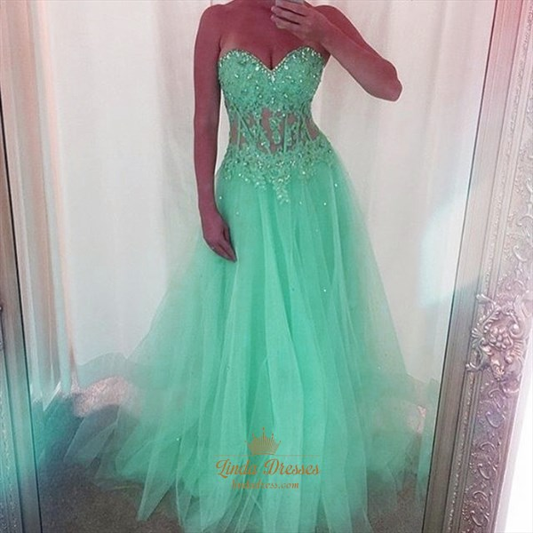 Mint Green Strapless Corset Bodice Tulle A-Line Floor-Length Prom Gown