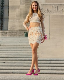Two-Piece Illusion Long Sleeve Lace Short Sheath Homecoming Dress