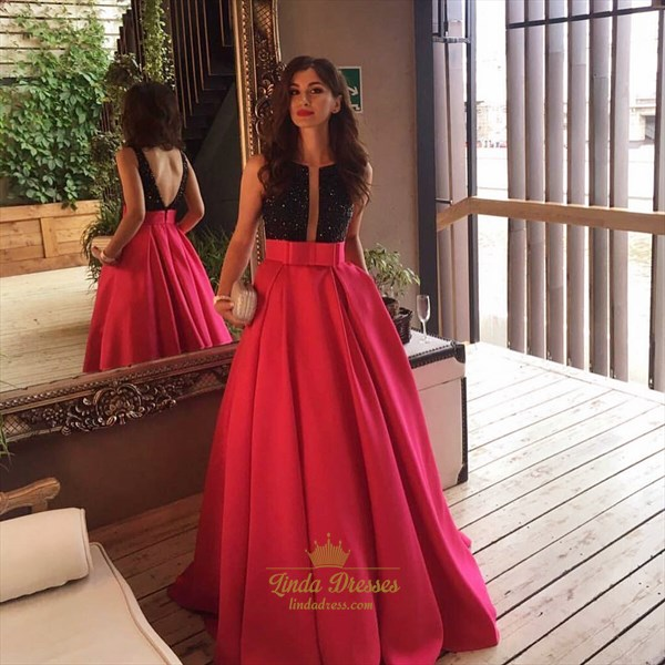 Two Tone Elegant Sleeveless V-Back A-Line Satin Long Evening Dress