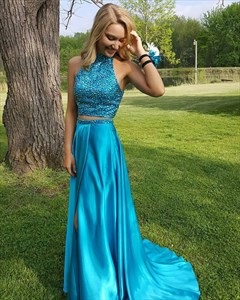 Two-Piece Sleeveless Beaded Bodice A-Line Floor Length Evening Dress