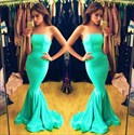Show details for Trumpet/Mermaid Simple Turquoise Strapless Floor Length Evening Gown