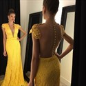 Yellow Lace Illusion Plunging V-Neck Cap Sleeve Mermaid Prom Dress
