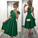 Show details for Emerald Green Tea Length A-Line Lace Bodice V-Back Homecoming Dress