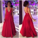 Red A-Line V-Neck Sleeveless Floor Length Evening Dress With Open Back