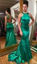 Show details for Trumpet/Mermaid Emerald Green Sleeveless Open Back Long Prom Dress