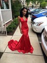 Elegant Plunging V-Neck Red Sleeveless Mermaid Prom Dress With Train