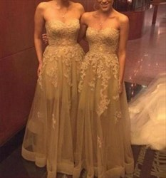 A-Line Strapless Sweetheart Lace Applique Tulle Long Bridesmaid Dress