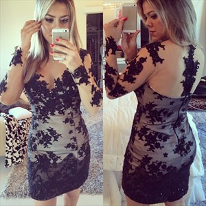 Illusion Sheer Long Sleeve Short Sheath Lace Applique Cocktail Dress