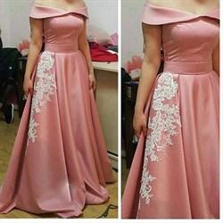 Off-The-Shoulder A-Line Lace Embellished Floor-Length Evening Dress