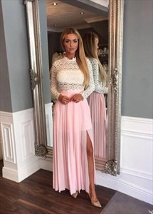 Two Tone Long Sleeve Floor-Length Lace Bodice Chiffon A-Line Prom Gown