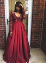 Show details for Burgundy Long Sleeve V-Neck A-Line Long Prom Gown With Illusion Bodice