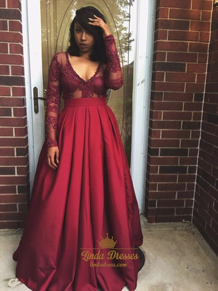 Burgundy Long Sleeve V-Neck A-Line Long Prom Gown With Illusion Bodice