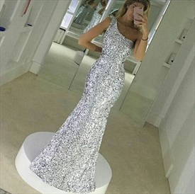 Simple One Shoulder Sleeveless Floor Length Mermaid Sequin Prom Dress