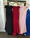 Show details for Pink Elegant Off Shoulder Sleeveless Floor-Length Mermaid Evening Gown