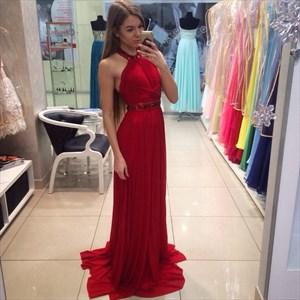 Red Sleeveless Beaded Halter Floor-Length A-Line Chiffon Evening Dress