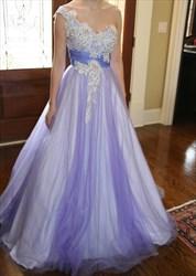 Lilac One Shoulder Applique Embellished Tulle A-Line Long Formal Dress