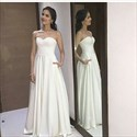 Show details for Simple Elegant White Strapless Sweetheart A-Line Chiffon Evening Dress