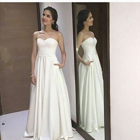 Simple Elegant White Strapless Sweetheart A-Line Chiffon Evening Dress
