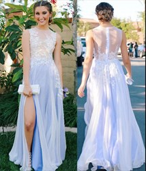 Lilac Illusion Sleeveless Lace Applique A-Line Prom Dress With Slits