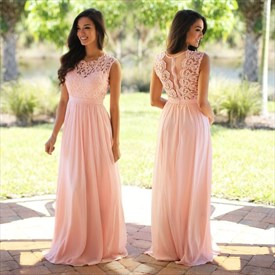 Sleeveless Floor-Length A-Line Lace Bodice Chiffon Bottom Prom Dress