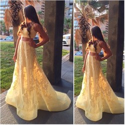 Yellow Two-Piece Sleeveless Floor Length Lace Applique Formal Dress