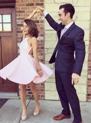 Blush Pink Short Sleeveless Spaghetti Strap Backless Homecoming Dress