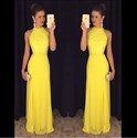 Yellow Elegant Sleeveless Lace Bodice A-Line Chiffon Long Prom Dress