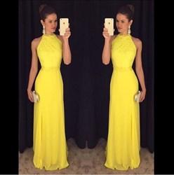 Yellow Elegant Sleeveless Lace Bodice A-Line Chiffon Long Prom Dress