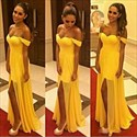 Show details for Yellow Off-The-Shoulder Sweetheart Chiffon Long Prom Dress With Slit