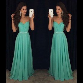 Strapless Floor Length Ruched Bodice Chiffon A-Line Long Prom Dress