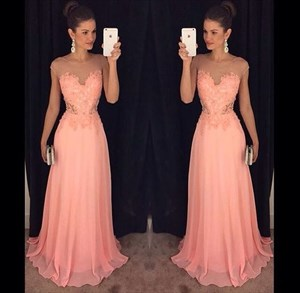 Cap Sleeve Lace Bodice A-Line Long Evening Dress With Sheer Neckline