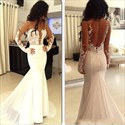 Show details for Illusion Long Sleeve Floral Applique Chiffon Mermaid Wedding Dress