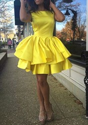 Yellow Sleeveless A-Line Short Satin Ruffled Skirt Homecoming Dress