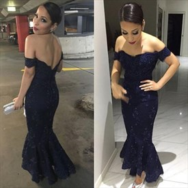 Navy Blue Off The Shoulder High Low Mermaid Lace Long Evening Dress