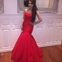 Show details for Red Strapless Sweetheart Ruched Bodice Drop Waist Mermaid Prom Dress