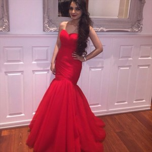 Red Strapless Sweetheart Ruched Bodice Drop Waist Mermaid Prom Dress