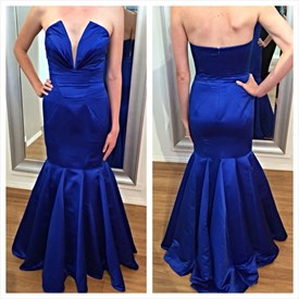 Royal Blue Strapless V-Neck Sleeveless Floor Length Mermaid Prom Dress