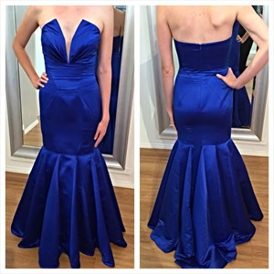 Royal Blue Strapless V-Neck Sleeveless Floor Length Mermaid Prom Dress