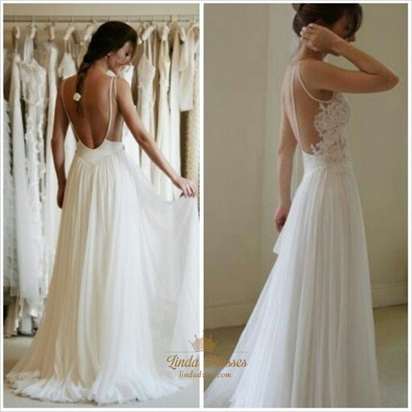 Sleeveless Backless Lace Bodice A-Line Long Chiffon Beach Wedding Gown