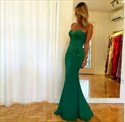 Show details for Emerald Green Strapless Sweetheart Lace Embellished Mermaid Prom Dress