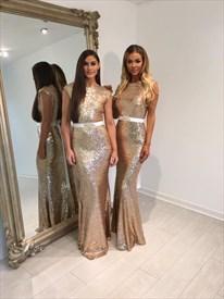 Floor-Length Champagne Cap Sleeve Sequin Bridesmaid Dress With Belt
