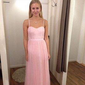 A-Line Pink Spaghetti Strap Floor-Length Ruched Tulle Bridesmaid Dress