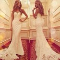 Show details for Elegant White Strapless Ruched Mermaid Lace Evening Gown With Train