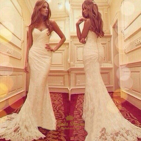 Elegant White Strapless Ruched Mermaid Lace Evening Gown With Train