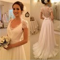 Short Sleeve V-Neck A-Line Chiffon Wedding Dress With Illusion Back