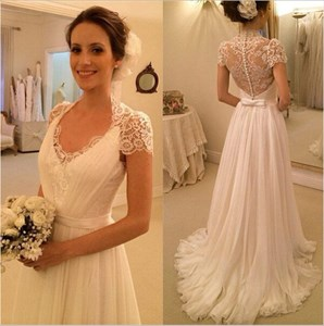 Short Sleeve V-Neck A-Line Chiffon Wedding Dress With Illusion Back